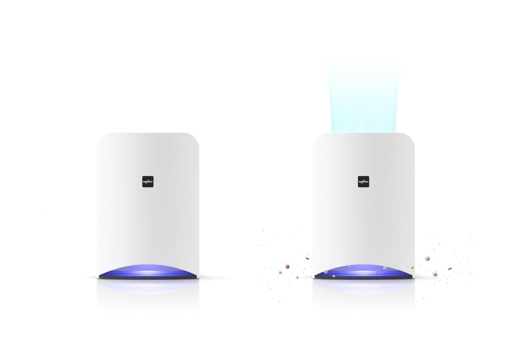 Aeropure ※空間除菌消臭装置のカタログ用の3DCGイラスト(製品単体とウイルスや空気も表現したバージョンの2パターン作成)