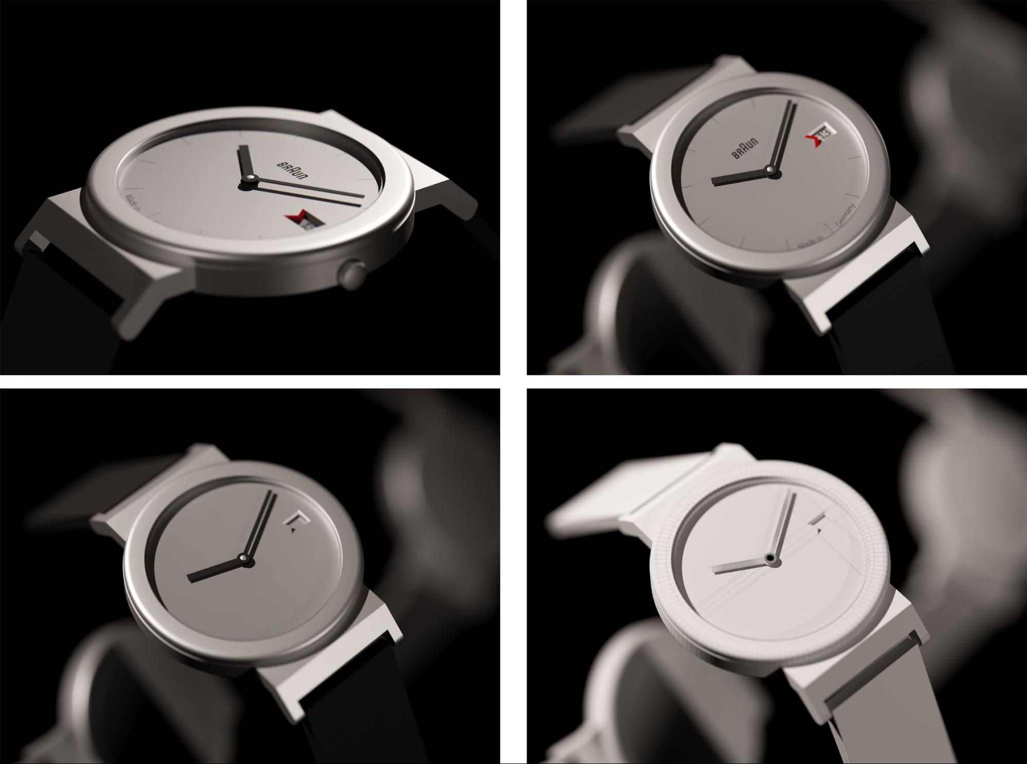 BRAUN AW50   習作として制作された時計の3DCG